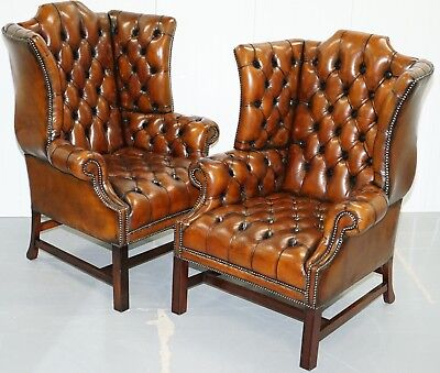 Chesterfield Georgian Restored Hand Dyed Brown Leather Wingback Armchairs Pair