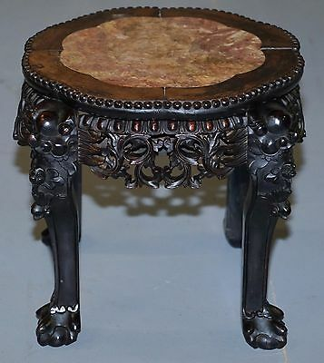 Lovely 19Th Century Carved Wood Chinese Pot Vase Stand With Marble Top Rare Find