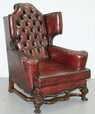 Very Heavy Rare 1690 Restored Mahogany William & Mary Wingback Leather Armchair