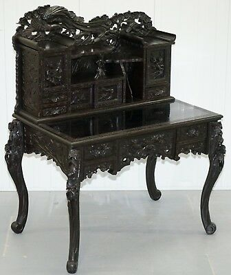 Rare Circa 1900 Chinese Export Hand Carved Writing Desk Ebonised Black Lacquer