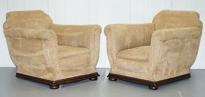 Pair Of Period 1910 Edwardian Gentleman's Club Armchairs Coil Sprung Base Velvet
