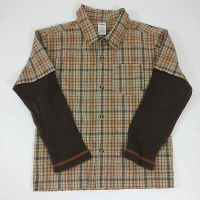 Gymboree Boys Button Down Long Sleeve Plaid Checkered 100% Cotton Shirt Size 7