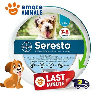 Seresto Bayer - Collare Antiparassitario per Cane cani fino 8 kg  NEW No Scatola