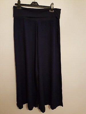 Ref 203 - MONSOON - Ladies Womens Girls Navy Blue Flare Trousers Size Medium