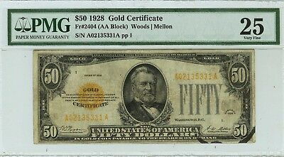 "RARE PMG 25 $50 1928 Gold Note FR#2404 Woods Melon ""INK ERROR"""