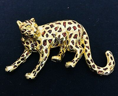 Vintage 80's Leopard Pin With Faux Amber Enamelled Spots. Gold Tone. Mint.