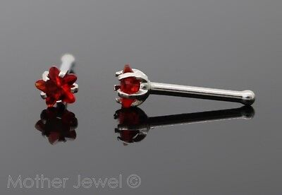 Star 3Mm Ruby Red Cz 20G Surgical Steel Mens Womens Nose Stud Bone Nostril Pin
