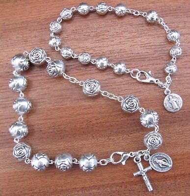 Rosary bracelet Silver Plated Rose Beads child adult sizes