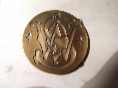 Great Vintage 1979 ***s&w Logo** Smith & Wesson Solid Brass Buckle