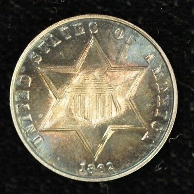 1862 3 Cent Silver - Beautiful High Grade Coin - Great Color! Item Q-6