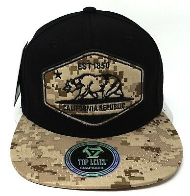 4e581361e07 CALIFORNIA REPUBLIC Camouflage Snapback Cap Hat Cali Bear Flag Digital Camo  NWT