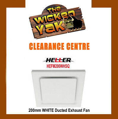 Heller 200mm WHITE Square Ceiling Exhaust Fan HEFM200WHSQ - FREE SHIPPING NEW