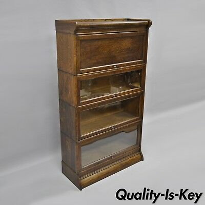 Antique Humphrey Widman 4 Section Tiger Oak Barrister Lawyers Stacking Bookcase