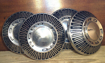 """Set of 4 1966 1967 Ford Galaxie Fairlane Dog Dish Poverty Hubcaps 10 1/2"""" NICE"""