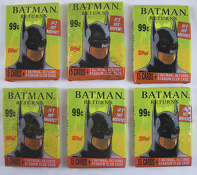 Topps Batman Returns Trading Cards - 6 Packs - Sealed Original Packaging - 1991