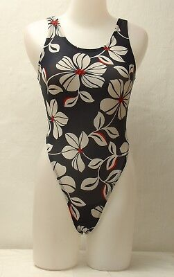Multicolored Floral Pattern Thong Leotard for Women size 10 Small