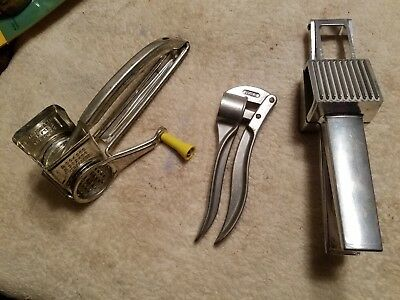 Vintage Kitchen Utensils Yellow Handle Mouli Cheese Grater Made In France Plus