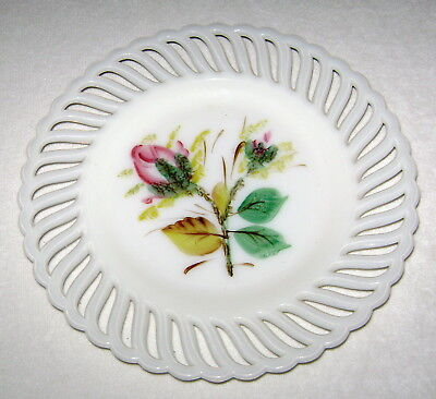 Antique Milk Glass Decorative Display Plate Hand Painted Budding Roses