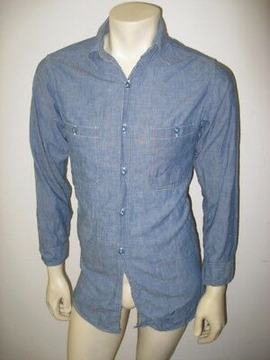 Vintage WWII US Navy Chambray Shirt DISTRESSED Size SMALL 14