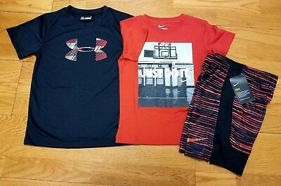 Nike Boys Size 6 Short Sleeve T Shirt and Shorts and Under Armour T Shirt NWT