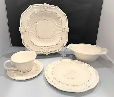 American Atelier 5 piece Antique White Baroque Dinnerware Plates Bowl Cup Saucer & AMERICAN ATELIER 5 piece Antique White Baroque Dinnerware Plates ...