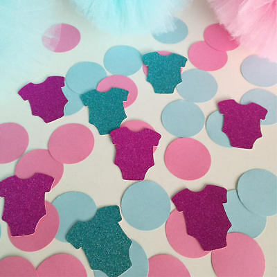 Gender reveal party. 20 pieces glitter, 25 pieces circle paper.