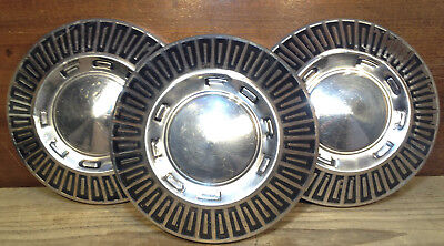 """Lot of 3 1966 1967 Ford Galaxie Fairlane Dog Dish Poverty Hubcaps 10 1/2"""" DECENT"""
