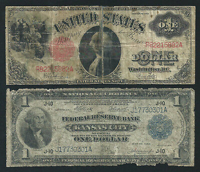 1918 $1 And 1917 $1 <<< Spread Eagle & Saw Horse >>> Ugliest Notes