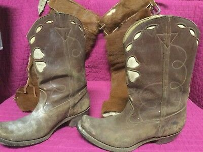 Vintage Child's Cowboy Boots & Leather Hair On Cowhide Chaps