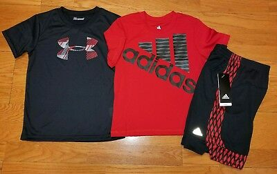 Adidas Boys Size 6 T Shirt and Shorts and Under Armour T Shirt NWT