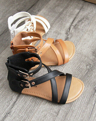 New Girls Gladiator Kids Zipper and Buckle Summer Fashion Sandals size 11-4