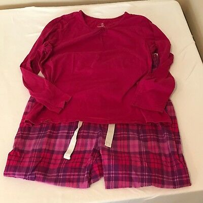 Lands End Women's Flannel Pajama PJ Set Size Petite Large 14-16 Pink Red Purple