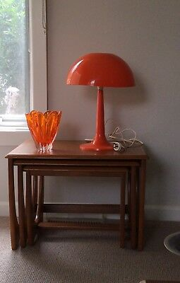 FABULOUS MID CENTURY ORANGE PLASTIC MUSHROOM TABLE LAMP Pick Up Geelong