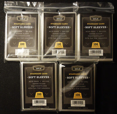 (500) Soft Penny Sleeves Cardboard Gold CBG Standard Size Trading Cards