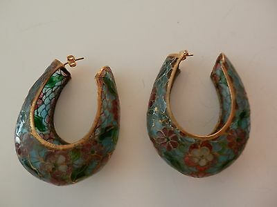 Vintage Chinese Plique A Jour Enamel Stained Glass Cloisonne Hoop Earrings 2.25""