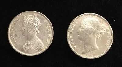 BRITISH INDIA VICTORIA QUEEN 1862 and 1840  RUPEE SILVER COINS UNC CONDITION