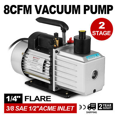 """8CFM Two-Stage Rotary Vane Vacuum Pump Oil Fill Port 1/4""""flare R134a R410a"""