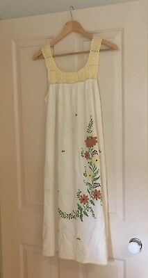 Vintage Boho Cheesecloth And Crochet Embroidered Midi Dress