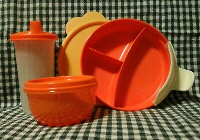 New 3 Piece Baby Tupperware Serving Set Toddler Sippy Cup Divided Dish Child