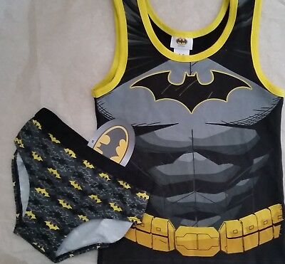 DC BATMAN Bat Man Licensed singlet tank vest & briefs undies set NEW sizes 3-6