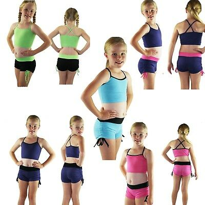 Childrens dancewear dance shorts and crop top sets - Plain colour with trim
