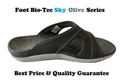 Foot Bio-Tec Sky Series Olive Size 8 Orthotic Thongs Arch Support Pain Relief