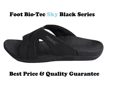 Foot Bio-Tec Sky Series Black Orthotic Thongs Arch Support Pain Relief