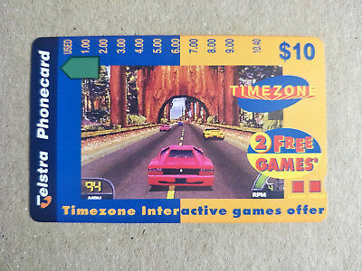 Mint $10 Timezone Tree Car Phonecard Prefix 1401 High and Thick $10 at Back