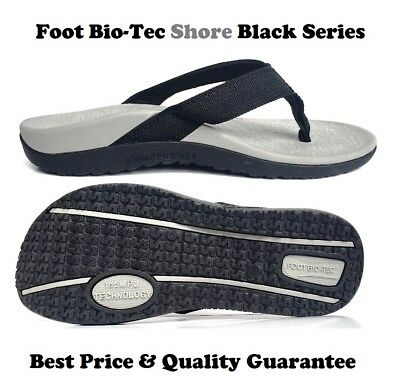 Foot Bio-Tec Shore Series Black Orthotic Thongs Shoes Arch Support Pain Relief
