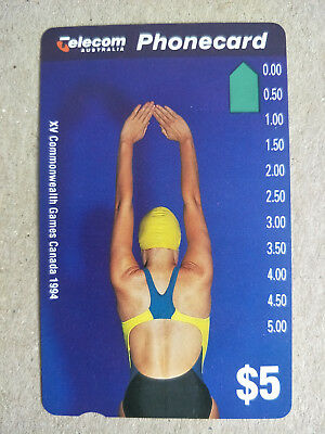 Mint $5 XV Commonwealth Games Phonecard Prefix 514 Limited Edition Overprint