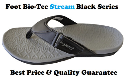 Foot Bio-Tec Stream Series Black Orthotic Thongs Shoes Arch Support Pain Relief