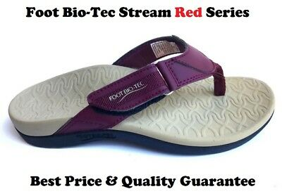 Foot Bio-Tec Stream Series Red Orthotic Thongs Shoes Arch Support Pain Relief