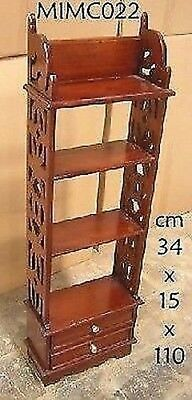Etagere Bookcase Wooden Plate Rack Mahogany 2 Drawers
