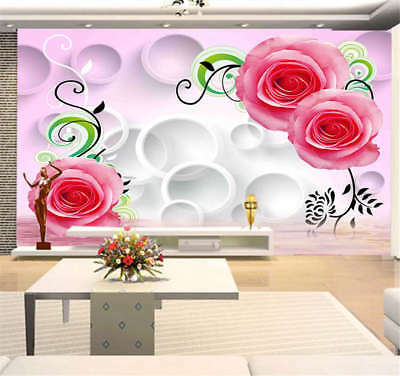 Rich Wooden Red Rose 3D Full Wall Mural Photo Wallpaper Printing Home Kids Decor